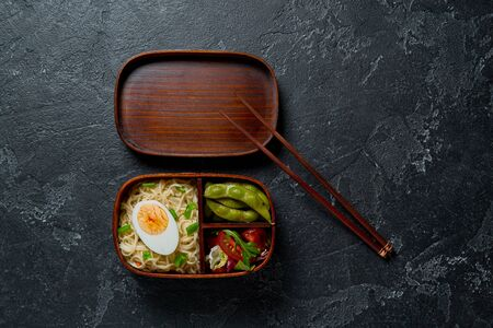 Japanese lunch bento box. Take away concept