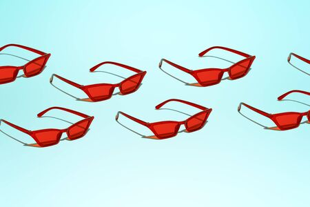 Several red sunglasses on blank blue background