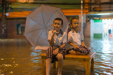 PATTAYA, THAILAND - SEPTEMBER 16: Heavy flooding from Due to the influence of the storm VAMCO  rain in pattaya suburbs on September 16, 2015 in  pattaya,province chonburi in Thailand.