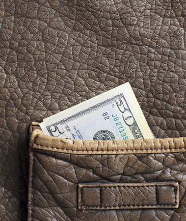 leather bag: money in the brown leather bag