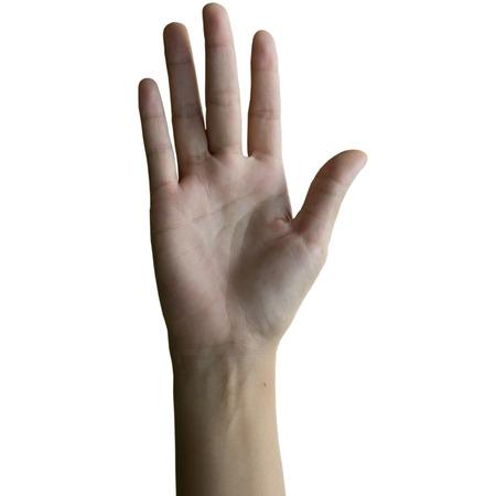comunicacion no verbal: Mujer que hace la muestra de la mano