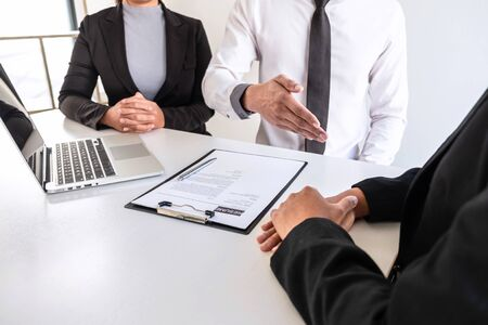 Business committee or interviewer consider and asking about profile of candidate, consider resume conducting a job and conversation listen to answers to thought attitude. Stock fotó