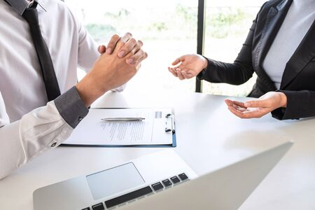 Business committee or interviewer consider and asking about profile of candidate, consider resume conducting a job and conversation listen to answers to thought attitude. Banque d'images