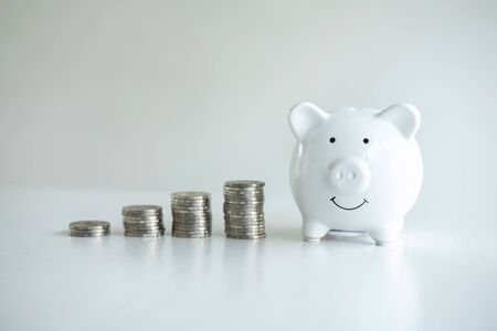 Image of piggy bank and stacking pile coins to planning growing saving strategy for future plan fund of travel, education, investment and retirement. Reklamní fotografie
