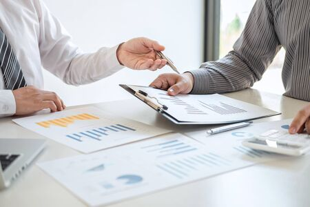Business team partner on meeting brainstorming in investment ideas marketing planning project and presentation finance and strategy of business making to successful and development growth profit.