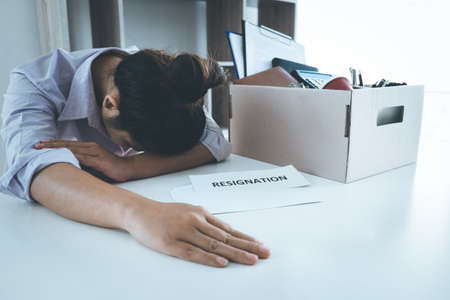 Stress of business woman employee intend to sending resignation letter to boss employer consider in order to contract for quit or layoff of job leaving from work, resignation concept.