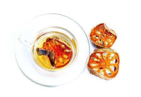 membrillo: Quince hot tea on white background