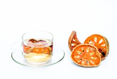 quince: Quince hot tea on white background