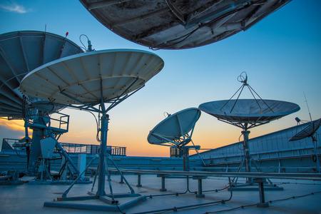 radio telescope: Silhouette of a radio telescope Stock Photo