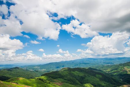 clound: Cloud over th village hill Stock Photo