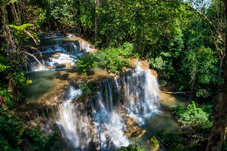 Huay mae khamin waterfall in Thailand Stock Photo
