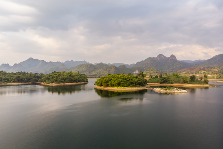 Aerial view of island in the lake