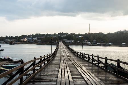 Landscape of wooden bridge in Thailand