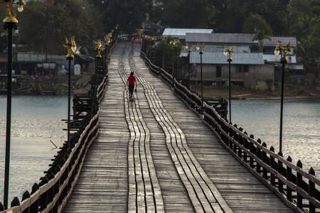 Landscape of wooden bridge in Kanchanaburi Thailand