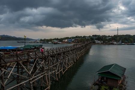 Landscape of wooden bridge in rain strom