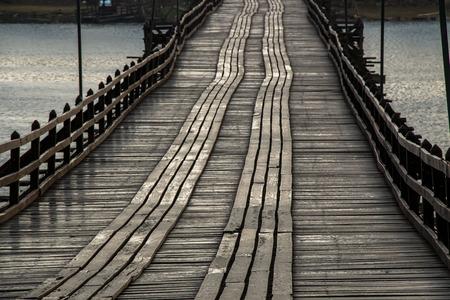 Landscape of Mon wooden bridge in Thailand Stock Photo