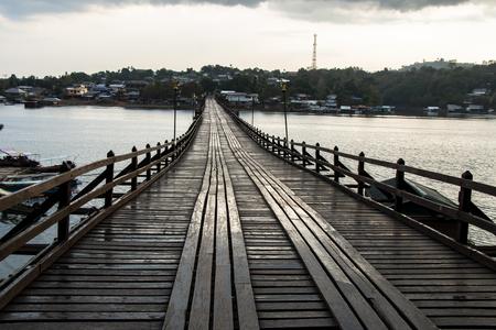 Landscape of Wooden bridge in Thailand Stock Photo