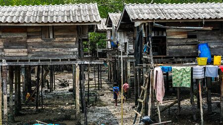 Moken people in Moken Village Ko Lao Island Ranong Province Thailand Stockfoto - 137009317