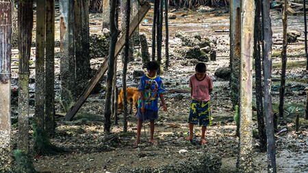 Moken people in Moken Village Ko Lao Island Ranong Province Thailand Stockfoto - 137009333