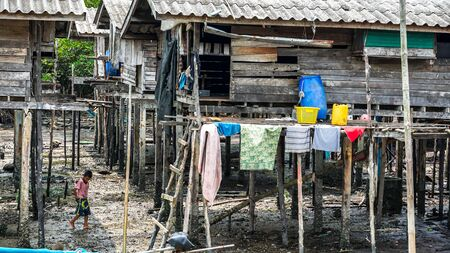 Moken people in Moken Village Ko Lao Island Ranong Province Thailand
