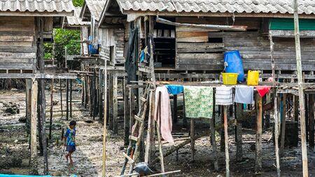 Moken people in Moken Village Ko Lao Island Ranong Province Thailand Stockfoto - 137009335