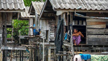 Moken people in Moken Village Ko Lao Island Ranong Province Thailand Stockfoto - 137009336