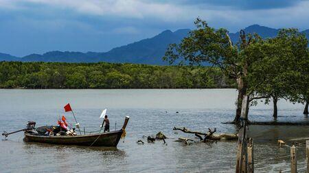 Moken sailing boat in the sea
