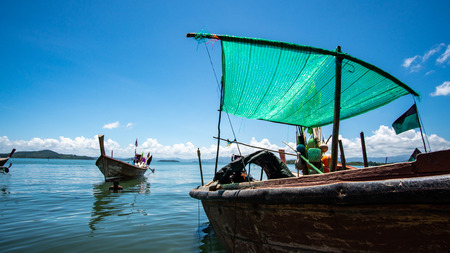 Fishing boat in the blue sea Thailand