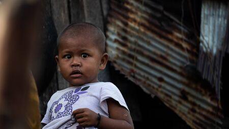 Moken children in Moken Village at Ko Lao Island Ranong Province Thailand Redactioneel