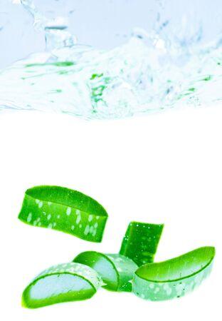 Fresh aloe vera splashing in water Stockfoto