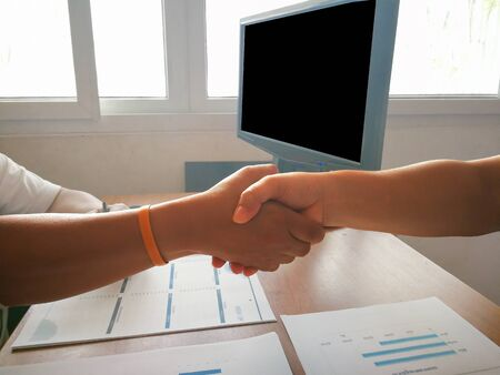 Partnership  handshake when allow business agreement.