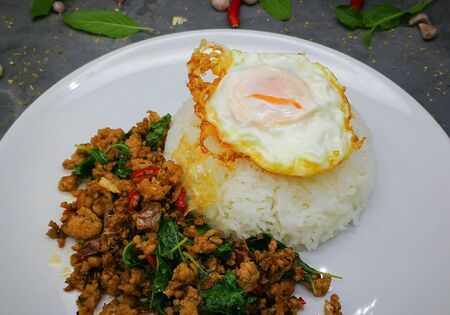 Rice topped with Fried egg , stir-fried pork and basil Imagens