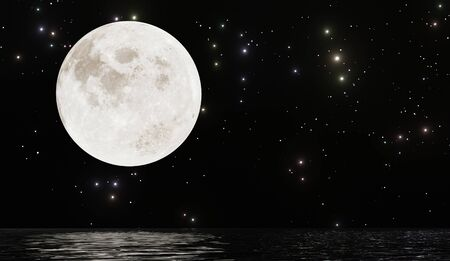 Full moon with many stars and reflection on water dark night sky background
