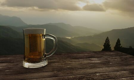 Glass of beer and mountain view background with sunset and mist on top hill. 3D Rendering. Stock Photo