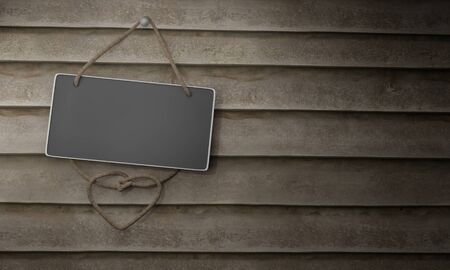 Blackboard with rope hanging on wooden wall and plank. Copy space 3d rendering.