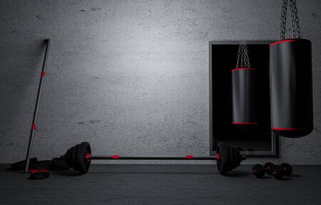 Sandbag with dumbbells and Barbells color black in fitness room at home. Gray Plaster and dirty old wall. Fitness equipment for workout in Gym.Barbell with weights plate on floor. 3D rendering Stock Photo