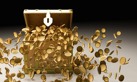 Many golden coins  in  golden vintage treasure chest  and falling down to the ground use for luck and rish concept. Treasure on black background and reflection on floor. 3D Render.