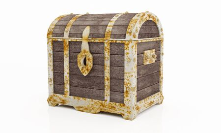 Rusty old treasure box or wooden treasure chest. Isolated on white background and wallpaper. 3D Render. Stock Photo