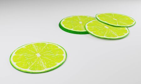 Lime Dark green peel. Lemon slices Put on a white surface
