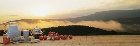 Panorama Breakfast fresh milk  Coffee in a glass and a coffee pot. Butter bread on a wooden chopping board. Many fresh strawberries. Mountain in the morning with mist and The sun shines. 3D rendering