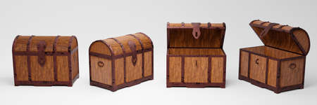 The old wooden treasure chest has a rusted metal frame. Brown wooden box with metal frame And rusty iron pins Place on a white background. 3D Rendering Stock fotó