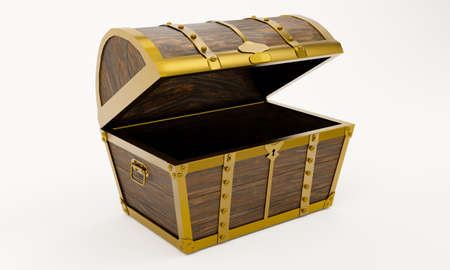 Ancient treasure chest is made of gold wood and metal plates with golden pins. Treasure chest with keyhole. Materials from Plank and gold metal. Background and white wallpaper. 3D Rendering