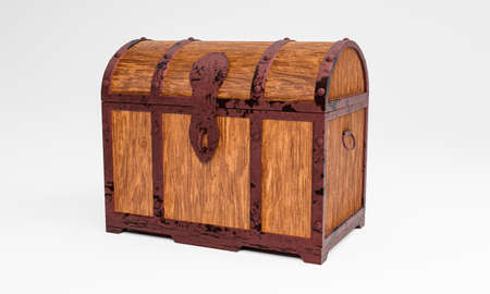 The old wooden treasure chest has a rusted metal frame. Brown wooden box with metal frame And rusty iron pins Place on a white background. 3D Rendering