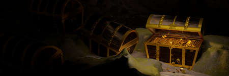 Golden Coins in Ancient and vintage treasure chest made of wooden panels Reinforced with gold metal and gold pins Treasure boxes placed on the sand in a cave or treasure chest underwater. 3d Rendering
