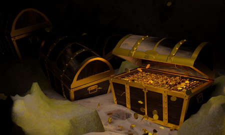 Golden Coins in the Ancient and vintage treasure chest made of wooden panels Reinforced with gold metal and gold pins Treasure boxes placed on the sand in a cave or treasure chest underwater. 3d Rendering