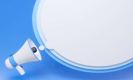 Megaphone with white stripes or pink stripes There are many circles representing symbols, announcements, or public relations. Pastel blue background. 3D Rendering
