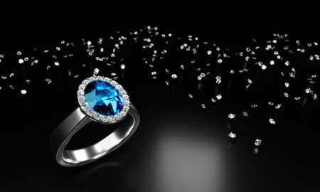The large oval blue diamond is surrounded by many diamonds on the ring made of platinum gold placed on a white background. 3d rendering