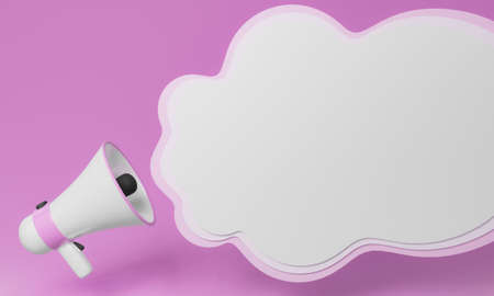 Megaphone with white stripes or pink stripes There are many circles representing symbols, announcements, or public relations. Pastel pink background. 3D Rendering