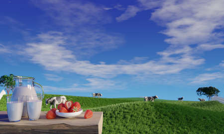 Fresh milk in clear glass and milk jug on the tree bark floor. Bright green grassland cows are walking freely and enjoying eating grass. Clear blue sky with white clouds. 3D rendering