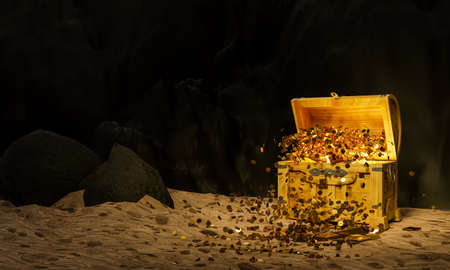 Old or vintage treasure chests or chests with gold coins spread out on the sand with a cliff background or cave rocks. 3D Rendering